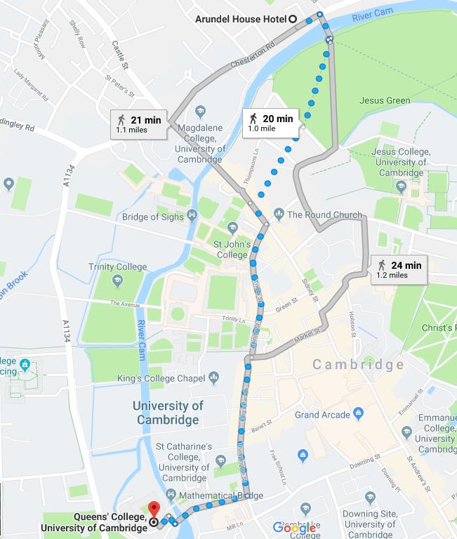 Queens College Cambridge Map on